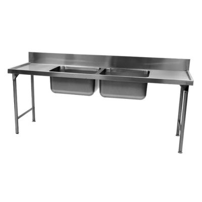 Stainless steel double bowl pot sink - 1850mm