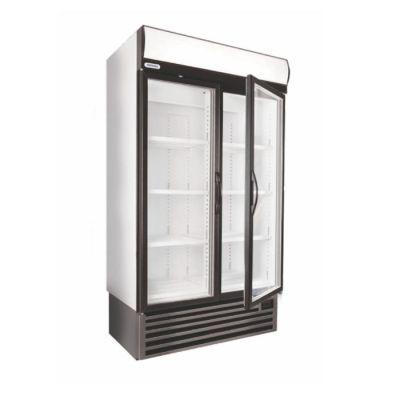 Double stainless steel door upright freezer