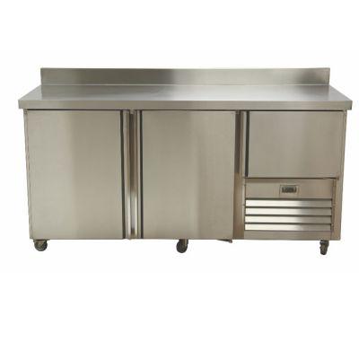 2.5 Stainless steel doors underbar fridge - with splashback