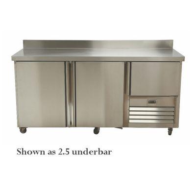 4.5 Stainless steel doors underbar fridge - with splashback