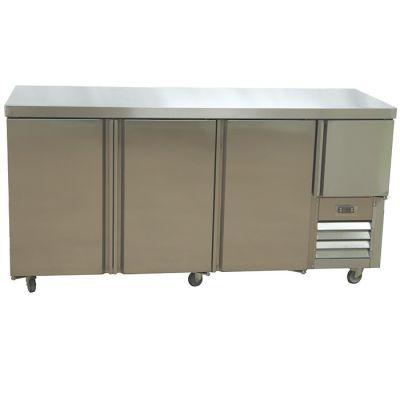 3.5 Stainless steel door underbar fridge - with splashback