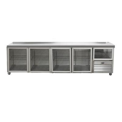 4.5 Glass doors underbar fridge - without splashback