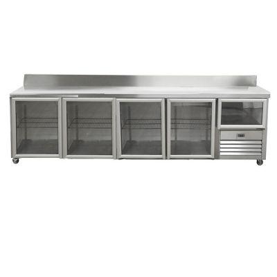 4.5 Glass doors underbar fridge - with splashback