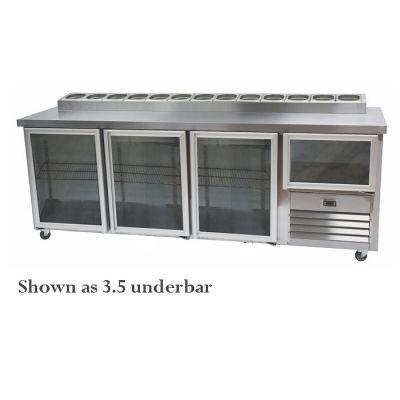 4.5 Stainless steel doors underbar fridge with pizzatop
