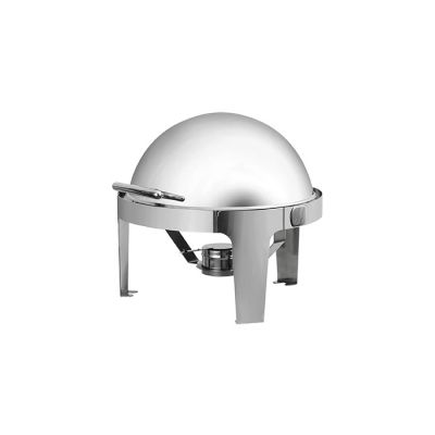 Round chafing dish with a roll top lid