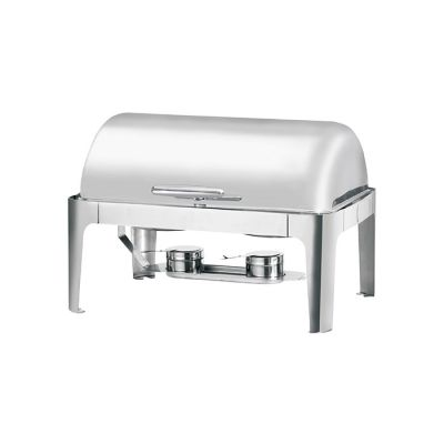 Oblong chafing dish with a roll-top lid