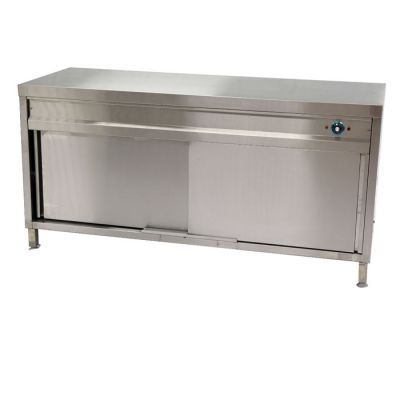 Stainless steel heated counter with castors - 1200mm