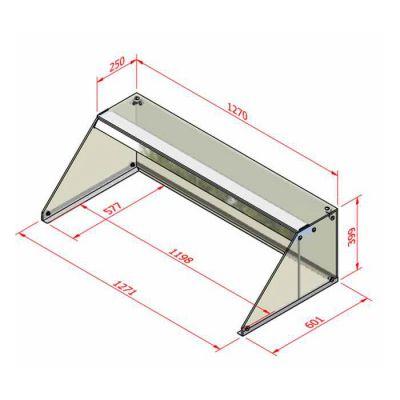 Square glass sneezeguard self-help - 1.2m