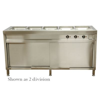 6 Division bain-marie with hot closet