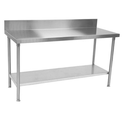 Stainless steel table with splashback and galvanized shelf - 2250mm