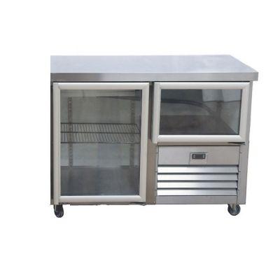 1.5 Glass doors underbar fridge - no splashback