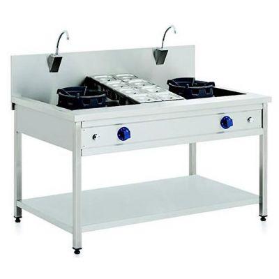 Double burner gas wok unit